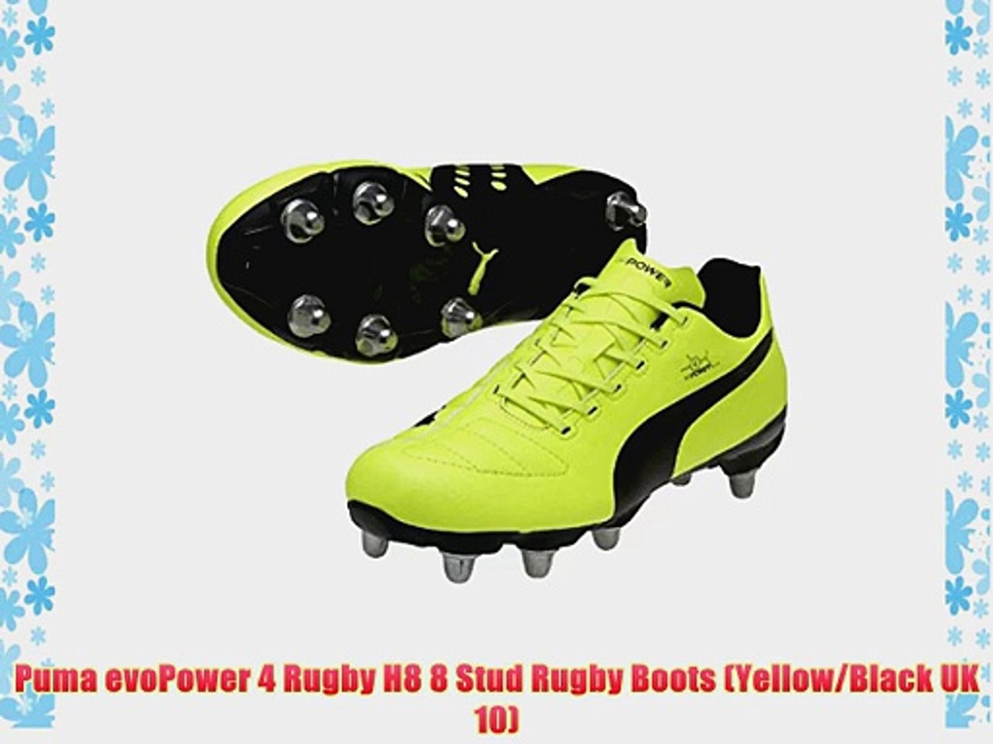 Puma evoPower 4 Rugby H8 8 Stud Rugby Boots (YellowBlack UK 10)