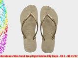 Havaianas Slim Sand Grey/Light Golden Flip Flops - UK 8 - BR 41/42