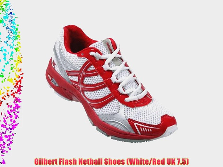 Gilbert Flash Netball Shoes (White/Red UK 7.5)