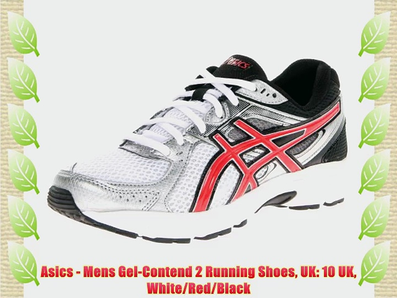 Asics - Mens Gel-Contend 2 Running Shoes UK: 10 UK White/Red/Black