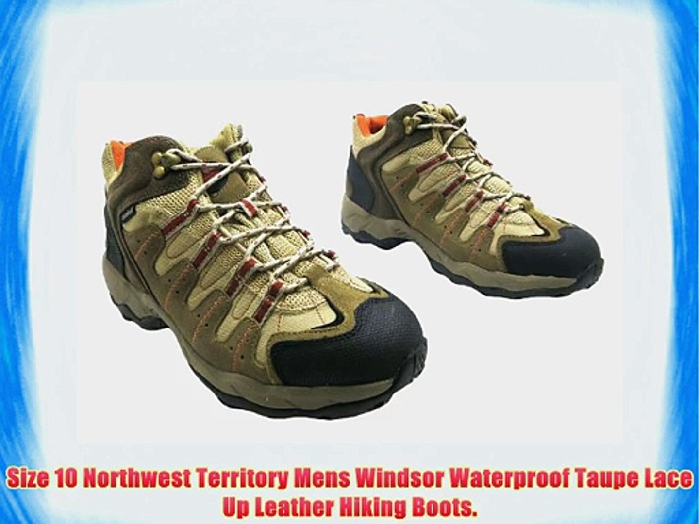 2bca0e2f4d0 Size 10 Northwest Territory Mens Windsor Waterproof Taupe Lace Up Leather  Hiking Boots.