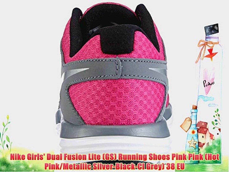 Nike Girls' Dual Fusion Lite (GS) Running Shoes Pink Pink (Hot PinkMetallic Silver Black Cl