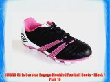 UMBRO Girls Corsica Engage Moulded Football Boots - Black / Pink 10