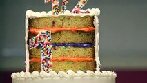 How to Cake... A HALF BIRTHDAY CAKE! Tiered vanilla cakes with buttercream and sprinkles!