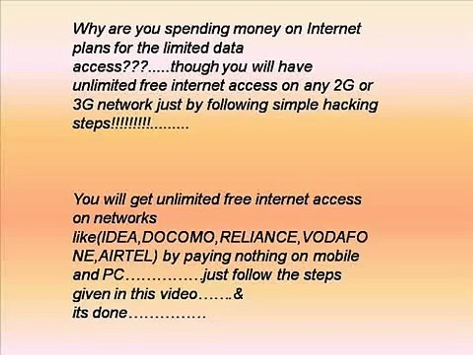 GET UNLIMITED FREE INTERNET ACCESS ON ANY NETWORK - video dailymotion