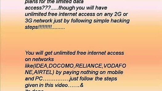 GET UNLIMITED FREE INTERNET ACCESS ON ANY NETWORK