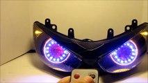 #1 2005-2006 Kawasaki zx6r zx-6r 636 Projector Headlights BiXenon hid Dual Angel Eyes Halo By BKmoto
