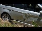 Ladri inseguiti dopo serie di colpi, incidente e fuga a piedi nei campi.