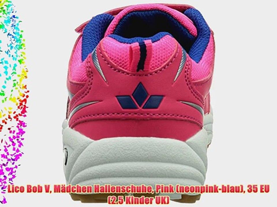 Lico Bob V M?dchen Hallenschuhe Pink (neonpink blau) 35 EU (2.5 Kinder UK)