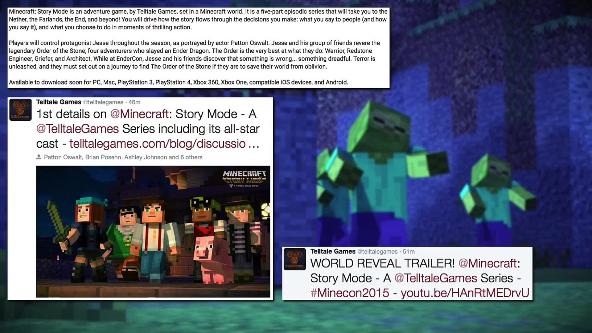 Minecraft: Story Mode Trailer & Information Released at Minecon 2015! (Xbox  One/Xbox 360/PS3/PS4)