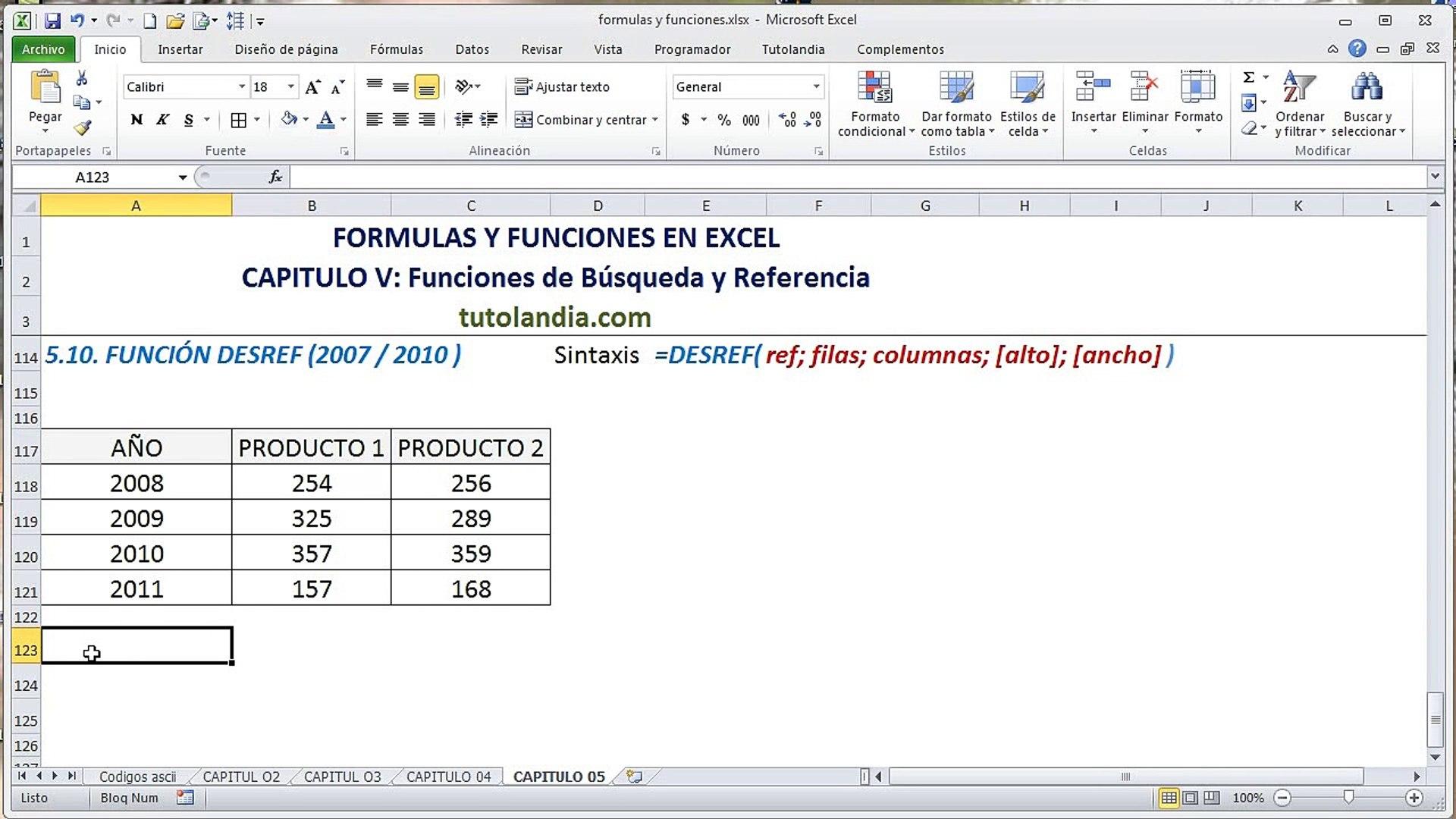 20.20 Función Desref Fórmulas y Funciones en Excel   video Dailymotion