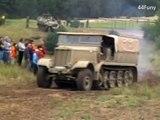 WWII Restored Original German Heavy Half-track SdKfz 9  FAMO - SLOW MOTION - WW2 Reenactment Show