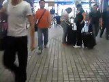 Martyna in China. Homeless guy without legs walking on chairs. Chairman!