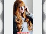 Prettyland C705 - 70cm Orange Rot langhaar Glamour Welle Gerade Pony Volumen Per?cke