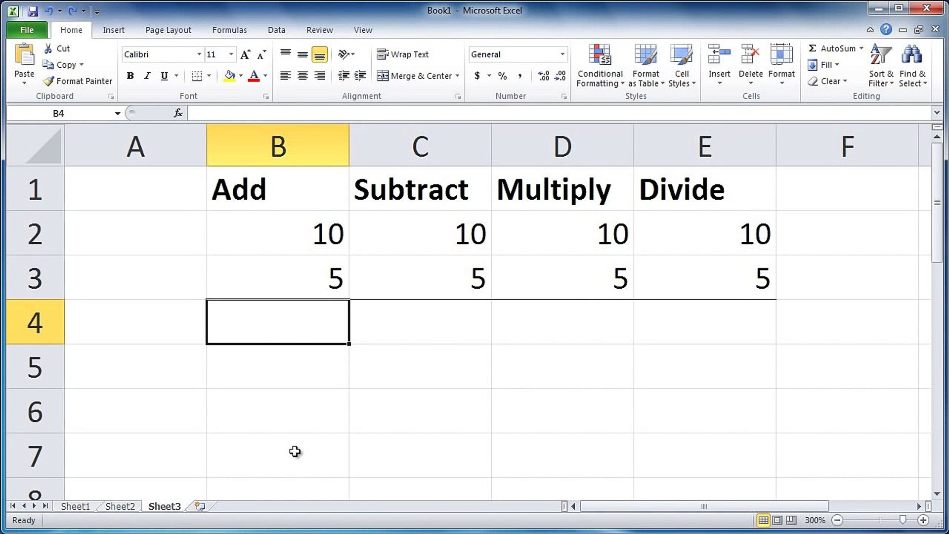 Excel 20   Add, subtract, multiply, and divide