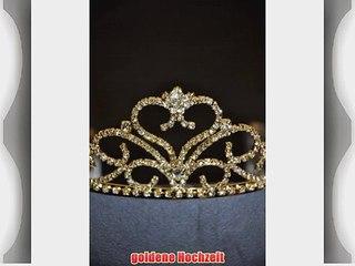 Flomans Goldene Tiara Diadem Haarschmuck Hochzeit Gold
