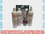 X-10 Hair Extension Care Set Of 4 - Care Conditioner 250ml Care Shampoo 250ml Leave-In Treatment