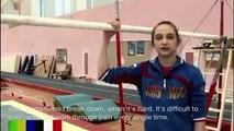 Aliya Mustafina and Vika Komova's pre-olympics training interview with english subtitles