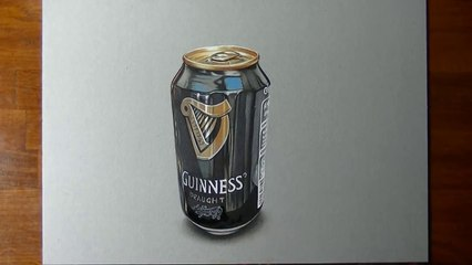 Drawing Time Lapse a can of Guinness - hyperrealistic 3D art