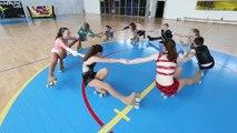 Entrainement de patinage artistique a roulettes pour le championnat de France à Mouvaux