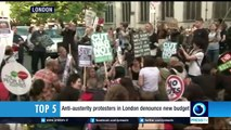 Anti-austerity protesters in London denounce new budget