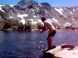 Crazy guys jump into glacier lake in the Sierras