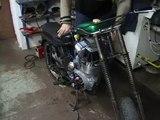 Jawa 250 přestavba dvoutaktu na čtyřtakt zkouška