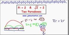 Two Paradoxes: Pi equals 2 and SQRT(2) equals 2 (TANTON: Mathematics)