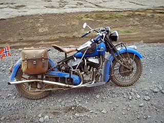 1944 Indian Motorcycle riding in Iceland
