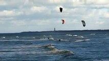 Netherlands Zeeland Kitesurfing or Kiteboarding en vliegeren in Walcheren Zeeland