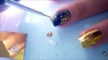 Nail Art Tutorial: Gold Foil + Glue Foil and Blue Roses Nail Art