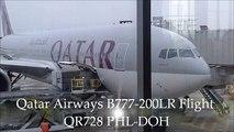 Qatar Airways B777-200LR Flight 728 Philadelphia to Doha