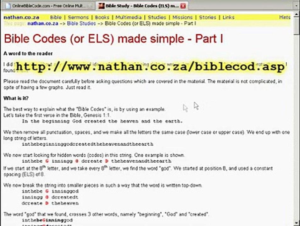 Online-Bible-Code ezekielvictor com Debut - Free, Public, Online Search for  ELS Codes