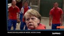 """François Hollande se prend pour """"Jackie Chan"""" et donne une leçon de karaté à Angela Merkel"""