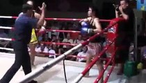 Martina (Tiger Muay Thai) wins on points vs Yodnamphet @ Patong Thai Boxing stadium