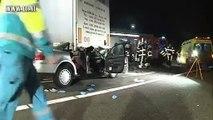 16-01-2011 - Voerendaal, Dronken vrachtwagenchauffeur keert op autoweg: 4 gewonden