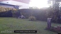 Un mec s'entraine à plonger dans son jardin