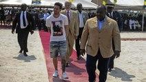 GABON: L'arrivée du Président Ali Bongo et Lionel Messi au Stade Port-Gentil pour poser la première pierre
