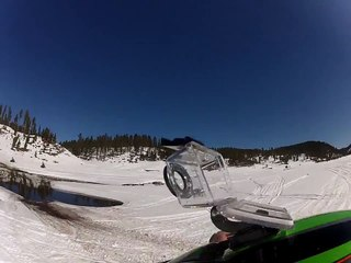 Snowmobile skipping water in the BlackHills