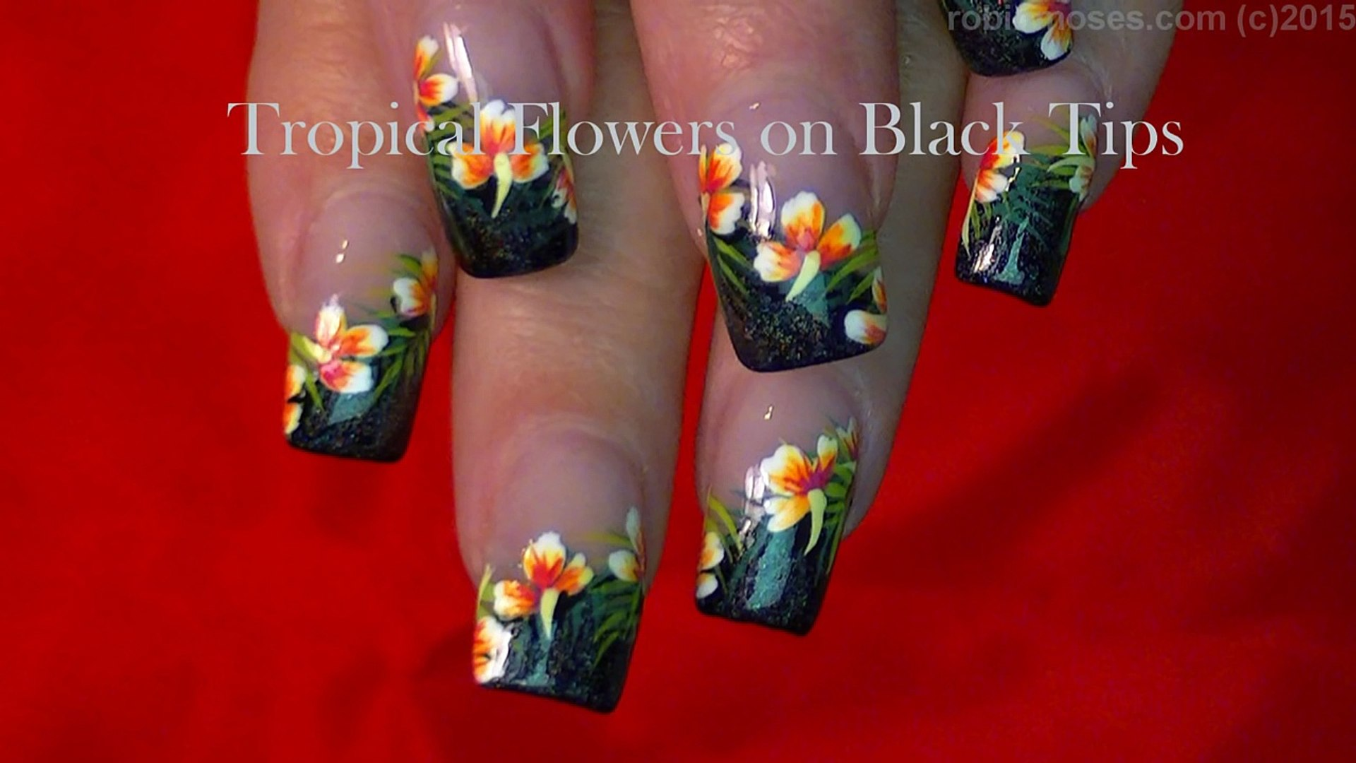 Tropical Flower Nails Summer Hibiscus Nail Design Video Dailymotion