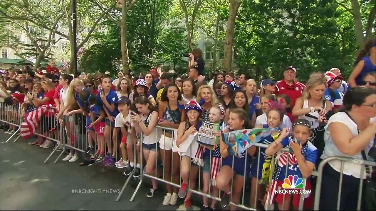U.S. Women's World Cup Champions Celebrated With Ticker Tape Parade | NBC Nightly News