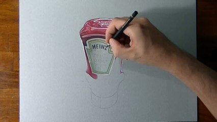 How I draw a Heinz tomato ketchup bottle
