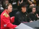 Michael Cole and Tazz confront Jim Ross and Jerry Lawler