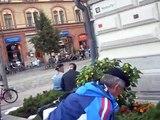 Uskonsoturi Seppo Lehto 27.8.2009 sings in Keskustori Tampere: Stop islamification