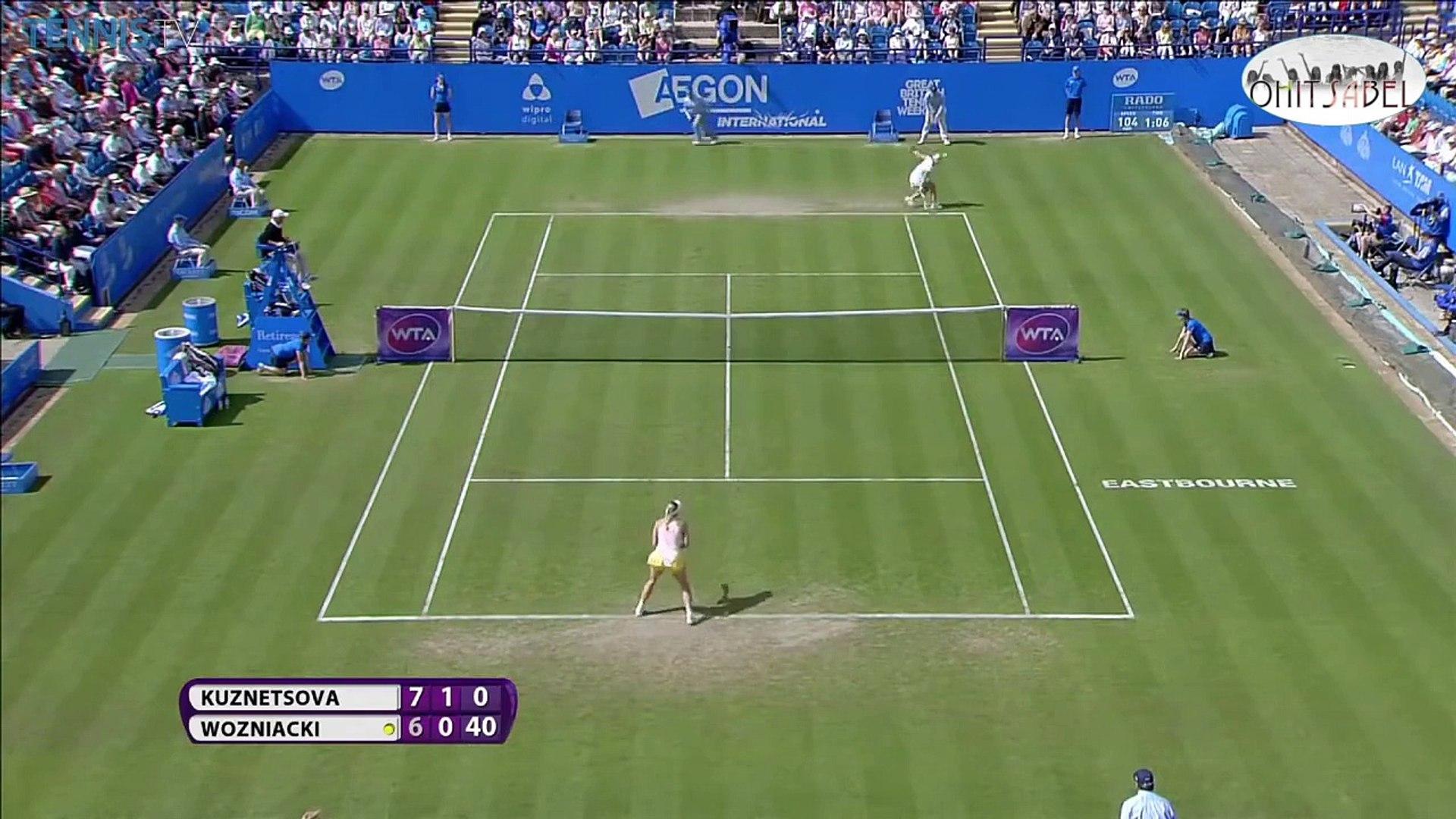 Caroline Wozniacki vs Svetlana Kuznetsova [Eastbourne 2015 Highlights]