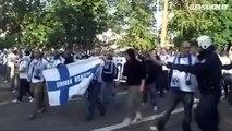 Football hooligans fighting in Helsinki (WCQL: Finland - Russia)