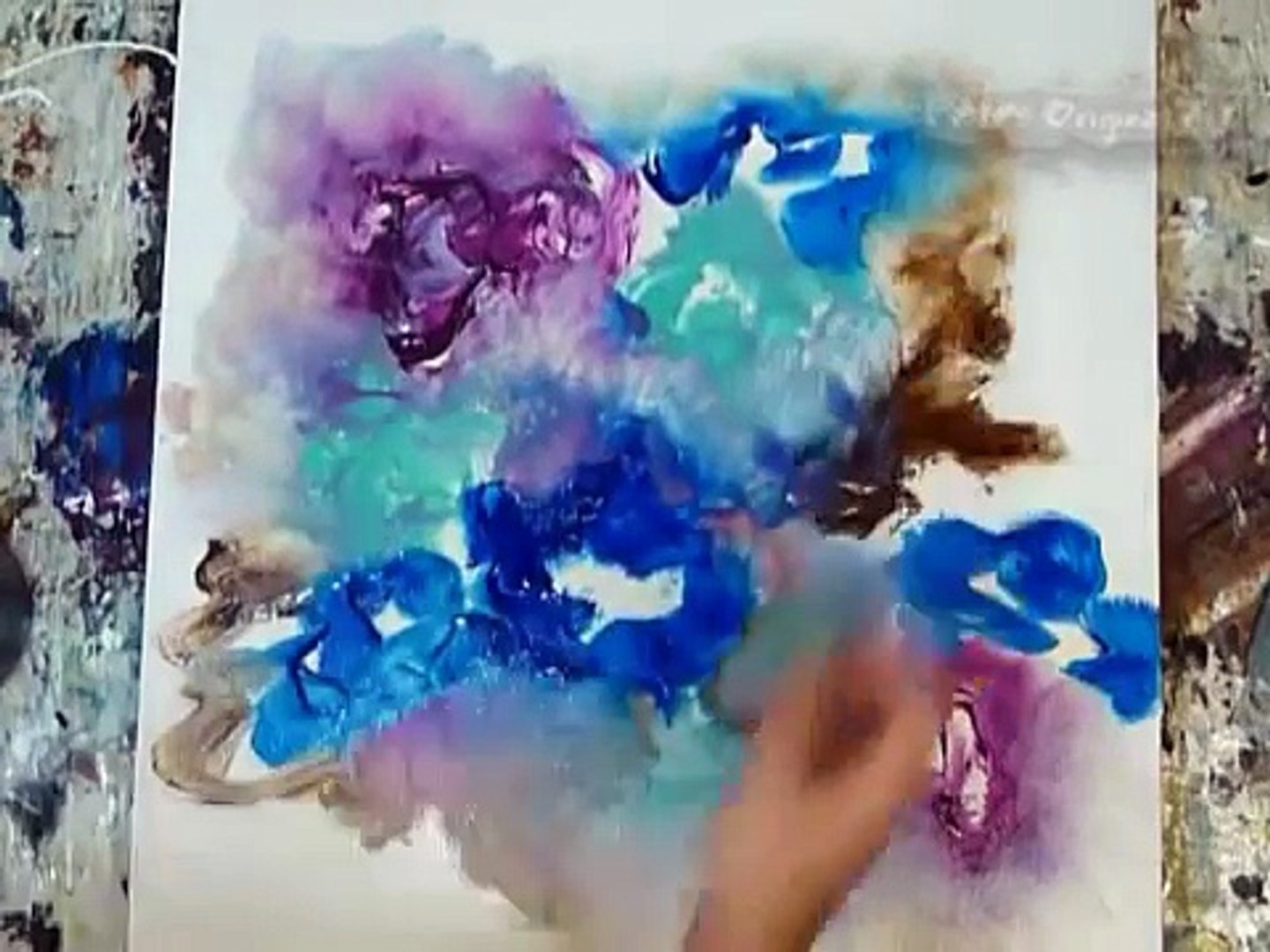 How To Paint Abstract Art Flowers Using Acrylic Paint On Canvas Simple Techniques Modern Look Tips