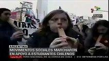 Movimientos sociales marchan en apoyo a estudiantes chilenos