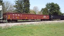 Eastbound Canadian National, Procor, and Union Pacific freight cars