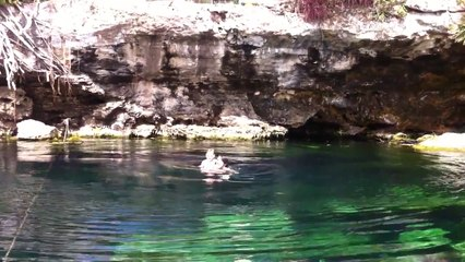 My 2 yr old jumping off a cliff into a Mexican Cenote